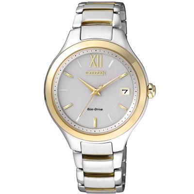 CITIZEN L 系列 光動能精靈時尚設計腕錶(EO1164-54A)-銀x金/34mm