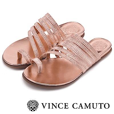 Vince Camuto 羅馬經典水鑽平底拖-粉色
