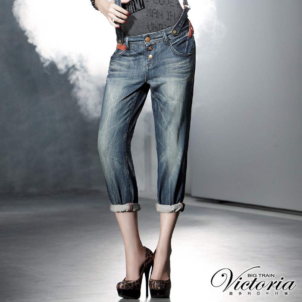 Victoria 燈芯絨配布吊帶男友褲-女-中藍