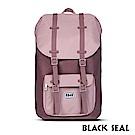 BLACK SEAL 聯名8848系列-撞色拼接雙皮帶釦機能大容量後背包- 磚紅色