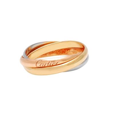 Cartier卡地亞TRINITY DE CARTIER 三色金環造型18K婚戒(#57)
