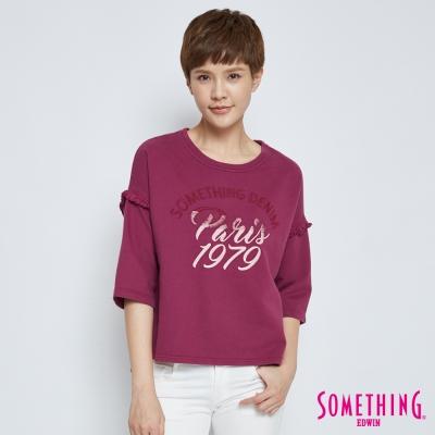SOMETHING 微秋寬袖流蘇T恤-女-紫紅色