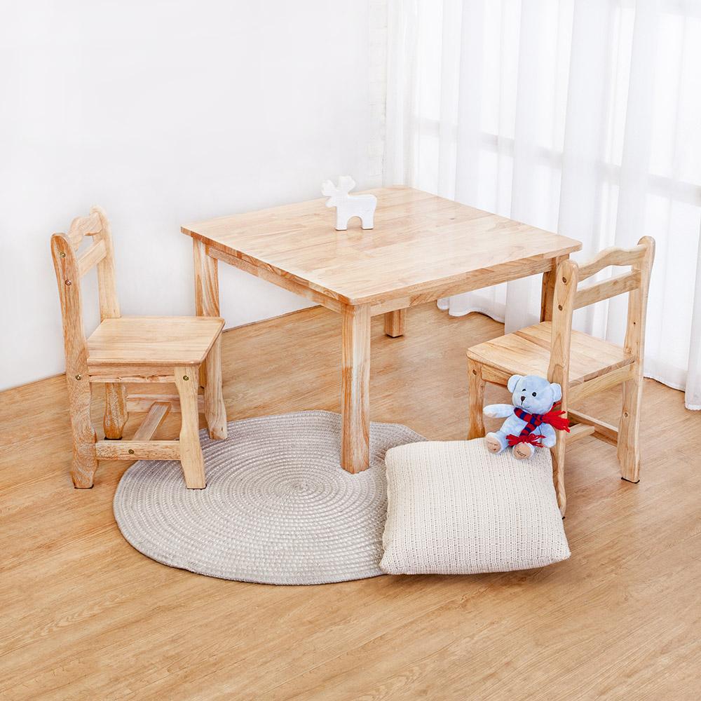 Bernice-泰迪全實木兒童遊戲桌椅+椅凳組合(一桌二椅)-免組裝-75x75x45cm