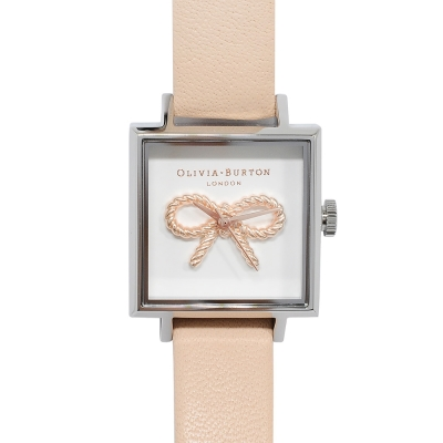 Olivia Burton 英倫復古手錶 3D蝴蝶結方形錶盤粉膚真皮錶帶銀框-30mm