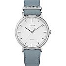TIMEX 天美時 週末Fairfield系列 晶鑽時尚優雅手錶 白x淺藍/37mm