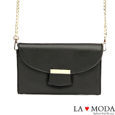 La Moda 約會不敗質感肩背斜背鍊條小包(黑)