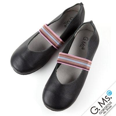 G.Ms. 親子鞋-繽紛鬆緊帶圓頭牛皮休閒鞋-黑色