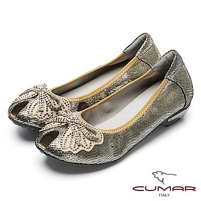CUMAR搶眼時尚-金屬色系造型魚口鞋-淺金色