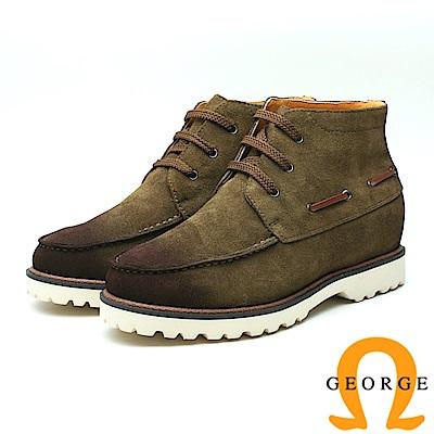 GEORGE 喬治-內增高 抽繩高筒休閒鞋 男鞋-咖啡色