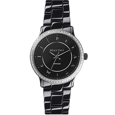 RELAX TIME 輕熟奢華鑽圈陶瓷錶款-黑x銀/30mm
