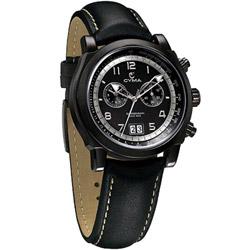 CYMA 極簡優雅大視窗計時腕錶-IP全黑