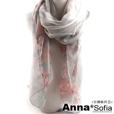 AnnaSofia-芙蓉花柔-加大加寬圍巾-灰粉系