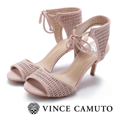 VINCE CAMUTO 浪漫甜美 雷刻綁帶細跟涼鞋-粉紅