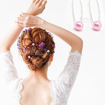 日本kiret 優雅系珍珠U型夾髮叉 超值10入(顏色任選)
