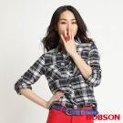 BOBSON 女款拼接針織布長袖襯衫(藍格53)