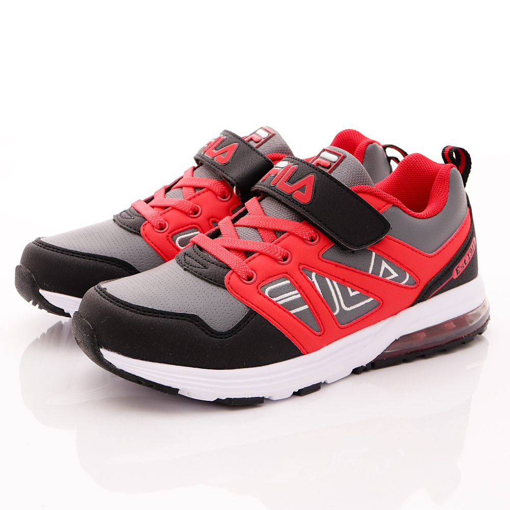 FILA頂級童鞋款-機能氣墊款-410R022黑紅(中大童段)HN