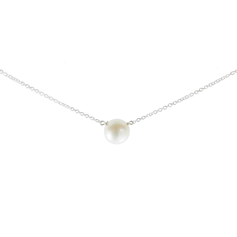 【Dogeared】大小白珍珠 銀色許願項鍊 對組
