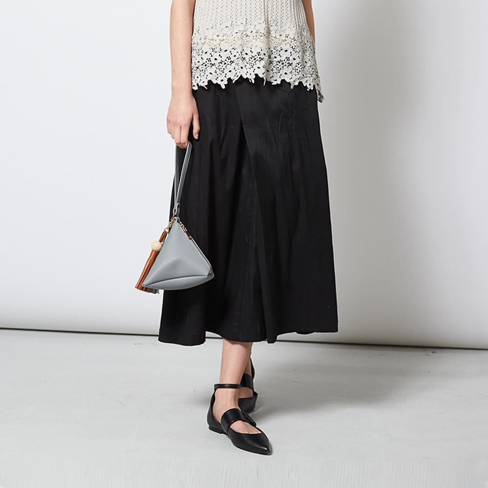 時尚簡約百搭素面一片式拼接造型黑長裙