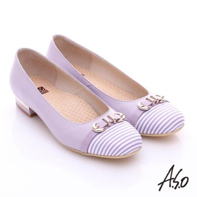A.S.O 3E舒活寬楦 全真皮奈米條紋皮飾帶低跟鞋 紫