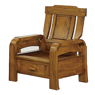 品家居 米魯柏木實木單人收納椅-78x70x101cm-免組