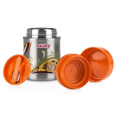 Nuby不鏽鋼真空副食品保溫食物罐450ml-幾何橘(6M+)