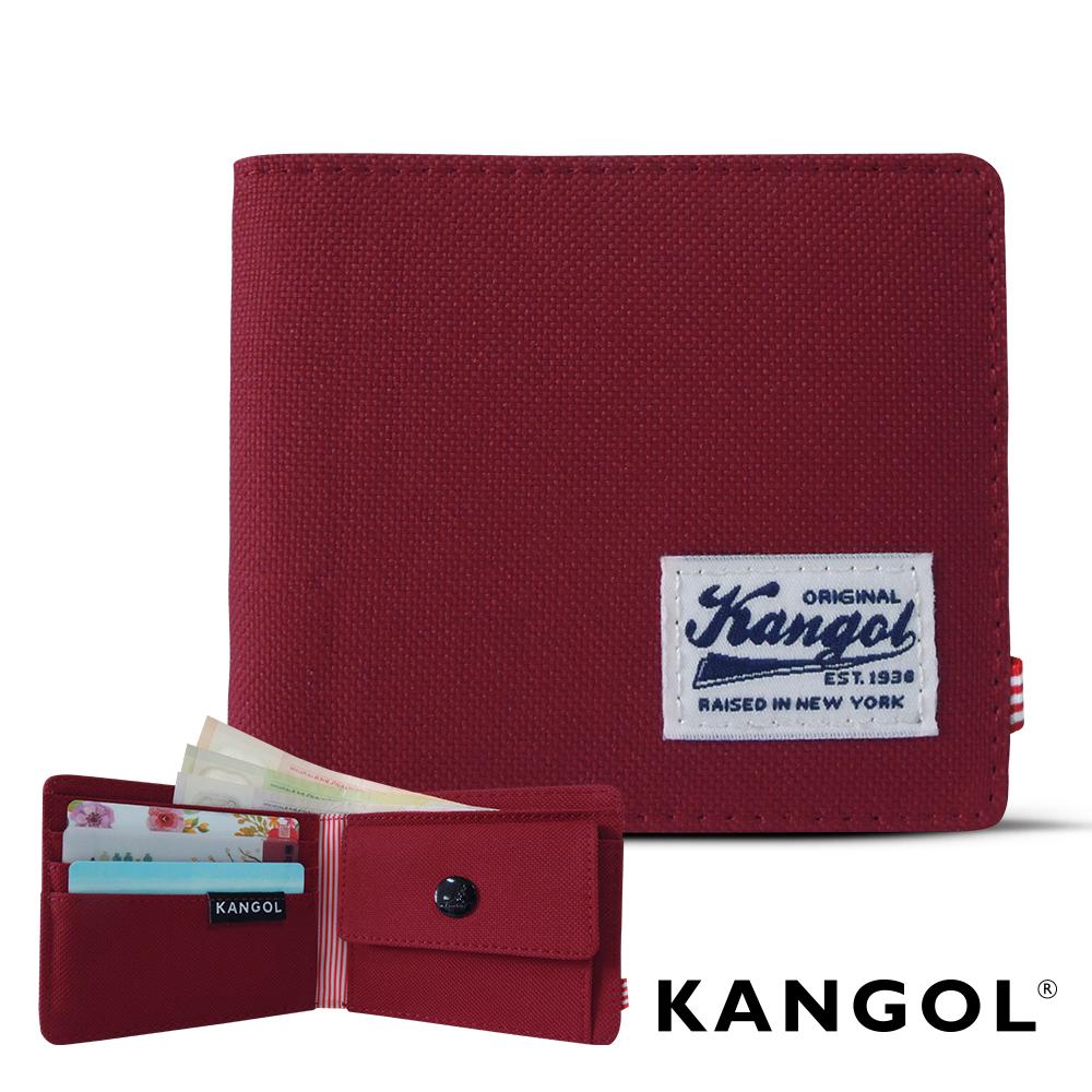 KANGOL 韓式潮流 多夾層/零錢袋橫式短皮夾+鑰匙圈禮盒-帆布深紅