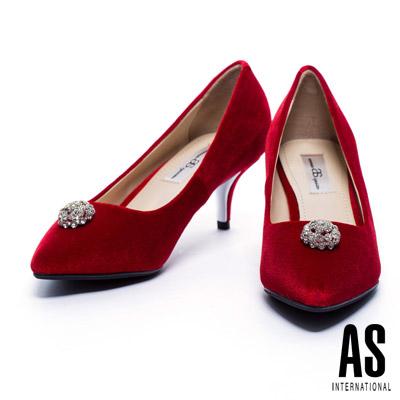 跟鞋 AS 奢華優雅白鑽飾點綴絲絨尖頭跟鞋-紅