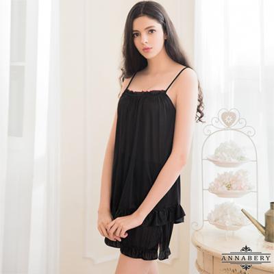 大尺碼Annabery簡約俏麗黑色柔緞睡衣短褲二件組 黑色 L-2L Annabery