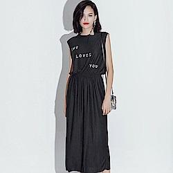 La BellezaLOVE英文字縮腰棉質背心洋裝