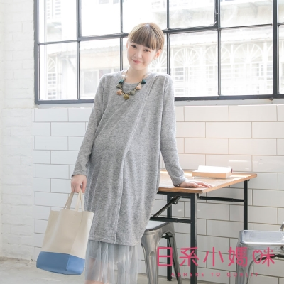 日系小媽咪孕婦裝-韓製孕婦裝-交叉開岔造型混紗針織洋裝-共二色