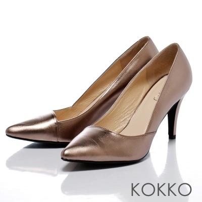 KOKKO法式優雅-時髦尖頭斜切素面高跟鞋-古銅金