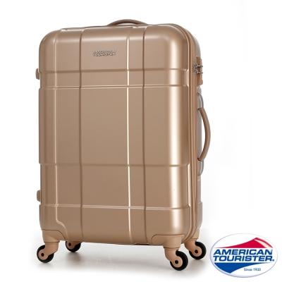 AT美國旅行者 25吋Ventura立體方格四輪拉桿TSA硬殼行李箱(香檳金)