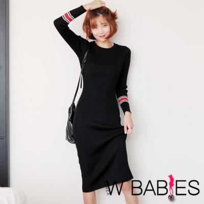 正韓 拼色長袖針織連身洋裝 (黑色)-W BABIES