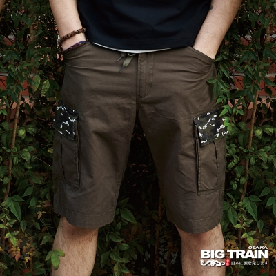 BIG TRAIN 貼袋五分褲-男-軍綠