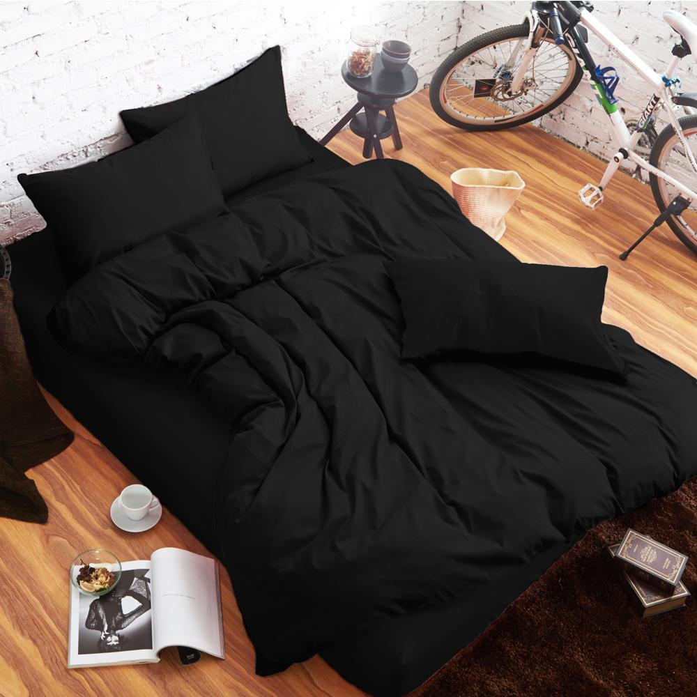 舒柔時尚 精梳棉 二件式枕套床包組 單人 黑色 生活提案