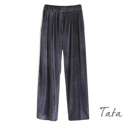 鬆緊腰條紋絲絨休閒褲-共二色-TATA
