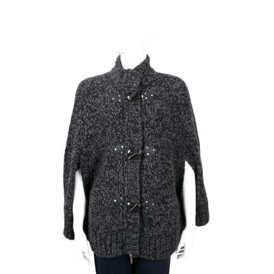 MICHAEL KORS 黑灰色牛角釦斗篷針織外套