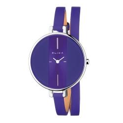 ELIXA Finesse系列銀框 紫色錶盤/紫色皮革纏繞式錶帶38mm
