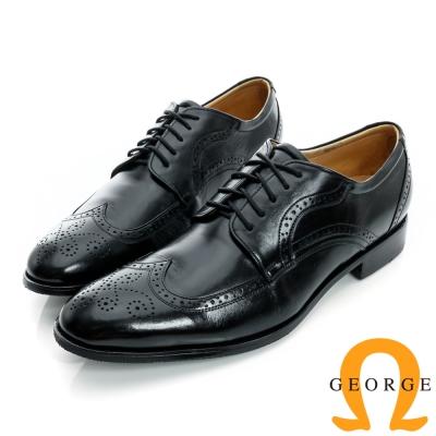 GEORGE-經典綁帶雕花設計真皮牛津紳士鞋-黑色