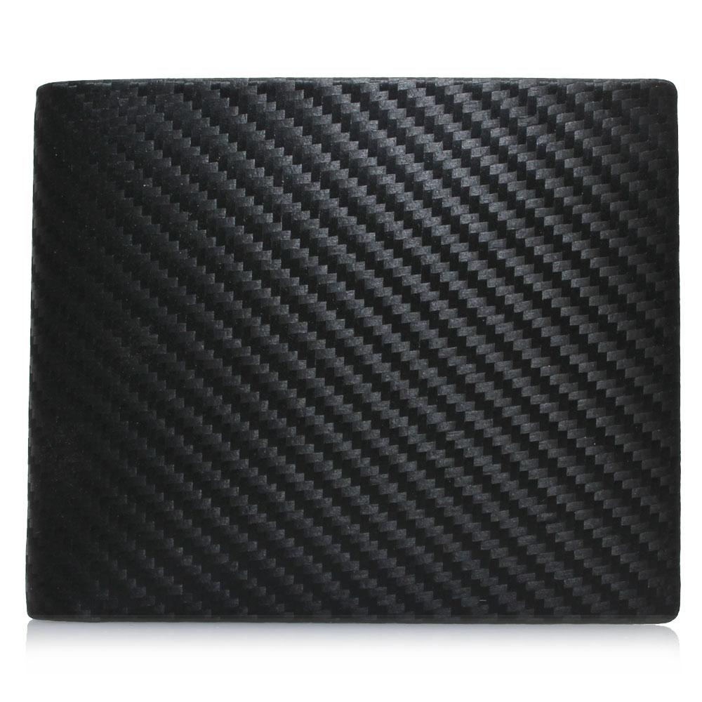 dunhill 經典皮革碳纖維圖紋八卡短夾 - 黑色