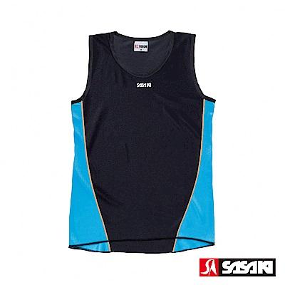 SASAKI 吸濕排汗專業田徑背心-女-黑/鮮藍/亮桔