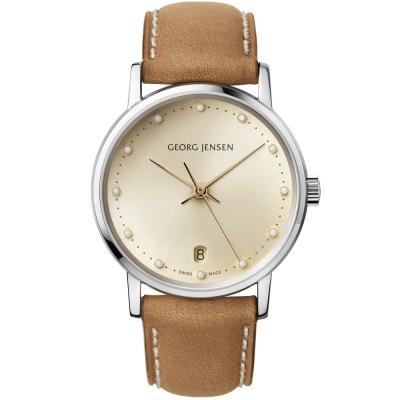 GEORG JENSEN 喬治傑生-KOPPEL 431系列鑲鑽時尚腕錶-香檳/32mm