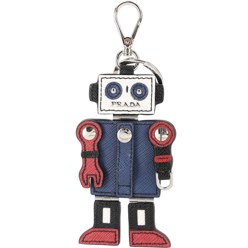 Prada Saffiano 機器人防刮牛皮鑰匙圈PRADA