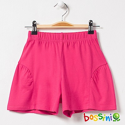 bossini女童-素色針織短褲01亮桃紅