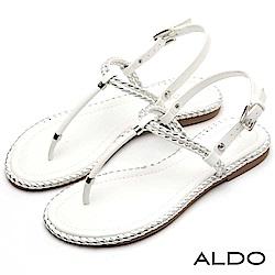ALDO 雙色麻花編織T字金屬釦帶拉帶式夾腳涼鞋~清新白色