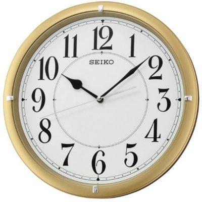 SEIKO 精工 滑動式秒針 靜音掛鐘(QXA637G)-金框-白/31cm