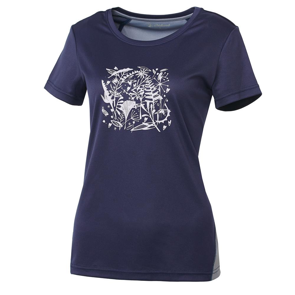 【Wildland 荒野】女咖啡紗印花抗菌抗UV上衣深藍