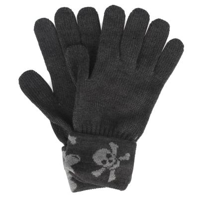 Vivienne Westwood 骷髏行星毛線反摺針織手套-黑灰色