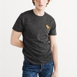 A&F 經典刺繡大麋鹿圓領素色短袖T恤-深灰色 AF Abercrombie
