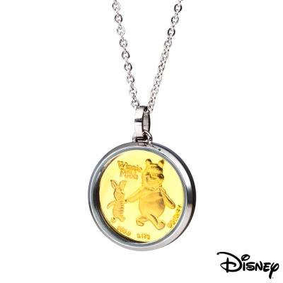 Disney迪士尼金飾 純真維尼小豬黃金/白鋼項鍊